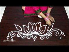 simple and easy lotus rangoli side designs Rangoli Side Designs, Best Rangoli Design, Rangoli Borders, Colorful Rangoli Designs, Rangoli Designs Images, Beautiful Rangoli Designs, Mehandi Designs, Lotus Rangoli, Small Rangoli