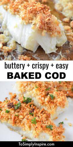 Cod Recipes Oven, Cod Fillet Recipes, Seafood Recipes, Cooking Recipes, Recipe For Cooking Cod Fish, Healthy Cod Recipes, Baked Cod Recipes Healthy, Easy Baked Fish Recipes, Fried Cod Recipes