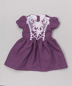 Another great find on #zulily! Purple & White Crochet-Bib Dress - Infant & Toddler #zulilyfinds