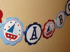 NEW Ahoy Its a Boy Nautical Baby Shower Banner by CustomParty4U, $30.00