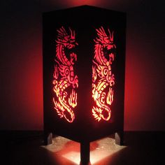 Asian Oriental Red Japanse Dragon Bedside Floor or Table Lamp Shades Decor. $16.97, via Etsy.