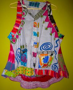 Pin Stripe hand painted up cycled artist vest fits M L XL by monapaints on Etsy