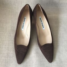 """Manolo Blahnik Bern Brown Suede Kitten Heel Shoes Brand new, no box or dustbag. Style is called Bern. Beautiful brown suede, perfect career shoe. Can be worn to work or any other occasion. The heel is 3"""". Price is firm, even if bundled. Manolo Blahnik Shoes"""