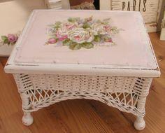 HP vintage wicker stool ~ C.Repasy