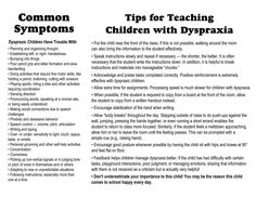 Dyspraxia Brochure for Students - Inside (Outside at http://www.pinterest.com/pin/85779567876238096/)