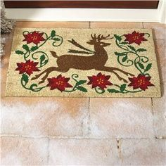 Holiday coco mat festively greets guests when they come to your home! | Lillian Vernon