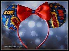 Items similar to Custom Mickey Ears: Super Hero (comic book inspired fabric with satin red bow) on Etsy Disney Half Marathon, Disney 2017, Mickey Ears, Disney Shirts, Christmas Bulbs, Comic Books, Superhero, Comics, Holiday Decor