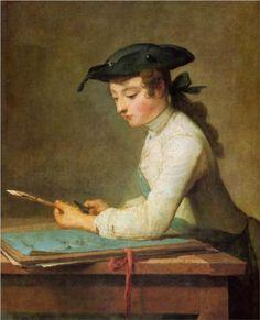 "Jean-Baptiste-Siméon Chardin:  The Young Draftsman, 1737, oil on canvas, 2'8"" x 2'1"" - The Louvre."