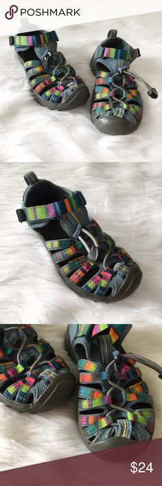 Keen Toddler Girls Rainbow Sandal Girls Keen rainbow sandals. Velcro strap at the top. You can also tighten or loosen with the elastic band.  In very good condition.   ⭐️10% off 2+ bundle  ⭐️Size US 12 ⭐️Smoke free home  ⭐️No stains or flaws Keen Shoes Sandals & Flip Flops