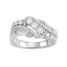 10k White Gold 1 Carat T.W. Diamond Swirl Multi Row Ring, Women's, Size: 7