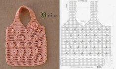 bolsa de croche rosa com grafico