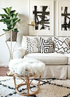 Graphic prints, greenery, light accessories, luxe, living space, #homegoals