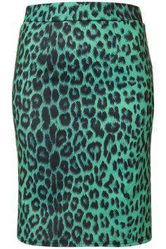 I love animal prints.  I love blue-green.  I love pencil skirts.  I love Top Shop.  I can't help myself.