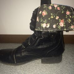 Combat boots Black leather combat boots. Worn but in good condition! Can be worn folded down or tall. Has flowers printed on the inside fabric. WINDSOR Shoes Combat & Moto Boots