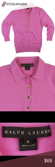 """RALPH LAUREN Black Label Pink Cashmere Sweater Absolutely excellent condition! It's marked a size M, but RL Black label tends to run on the smaller side - it's probably better for a size small. Check your measurements. This sweater appears to be made of pure cashmere but the material content tag was removed so I priced it lower than I would a pure cashmere black label RL. It features gold toned button closures, a polo styled collar, and 3/4 length sleeves. Measures: bust: 34"""", total length…"""