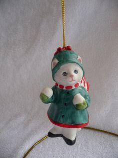 Ornement de Noël 1989 vintage Kitty concombre