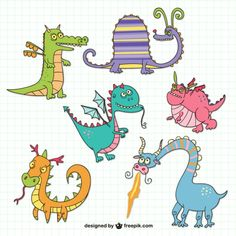 Funny Dragons Drawings Free Vector