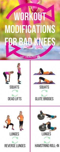 5 Exercise Modifications For Bad Knees and A Low-Impact Workout Plan - - Suffering from knee pain? Here are the best workout modifications for bad knees and a low-impact strength and cardio workout for bad knees. Low Impact Workout, Fun Workouts, At Home Workouts, How To Strengthen Knees, Fitness Motivation, Fitness Quotes, Motivation Quotes, Cardio Training, Strength Training