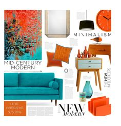 """Clean Spaces: Mid-Century Modern"" by ellergy ❤ liked on Polyvore featuring interior, interiors, interior design, home, home decor, interior decorating, Joybird, Porthos Home, Wild & Wolf and Andrew Martin"