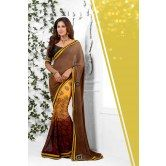 brown-yellow-color-weightless-georgette-saree