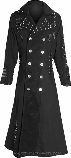 Black gothic coat for men, by Raven SDL, with rivets, mesh and two rows of metallic buttons.