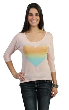 Deb Shops high low #sweater top with #ombre #heart screen