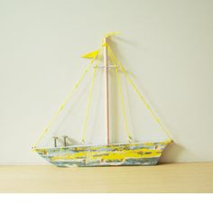 Yellow wooden sailboat folk art salvaged by ArktosCollectibles, $42.00