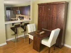 The Bedder Way Co. Murphy Bed inside the cabinet - love the table idea too! So perfect for a studio apartment