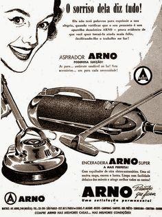 Aspirador e enceradeira Arno. Presentes que faz sorrir. 1954.