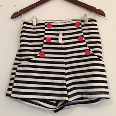 Brand new with tags high waisted shorts! Brand new, with tags high waisted shorts! Black and white stripe with red buttons. In perfect condition, bought from the boutique Vestique Vestique Shorts