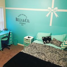 Tiffany Blue inspired bedroom painted wall | Home decor ...