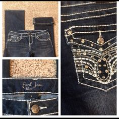 """NWOT Earl Jeans """"blue"""" New without tag Earl Jeans """"Blue"""".  These are a dark blue jean with flashy jewels around pockets in front and on the pockets in back. With the jewels and the white stitching, you are sure to get noticed.  Inseam 30"""" Earl Jeans Jeans"""