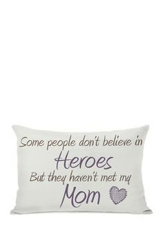"""Heroes Mom"" Ivory/Grape Pillow - 14"" x 20"""