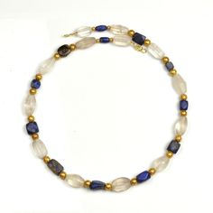 A Western Asiatic Lapis Lazuli and Rock Crystal Necklace, Persian Peri - Sands of Time Ancient Art Ancient Jewelry, Antique Jewelry, Beaded Jewelry, Beaded Bracelets, Viking Jewelry, Crystal Necklace, Crystal Beads, Gold Beads, Gold Necklace