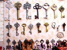 """Great variety set of vintage / antique skeleton look key charms!Perfect for crafts, scrap-booking, jewelry, wedding escort tags or place settings, collections, display - the uses are limited on by your imagination.Various sizes from 1"""" to 3"""" tall! Made of metal. Most keys are double-sided, but a few,"""
