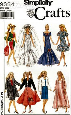 Simplicity 9334 Barbie doll clothes pattern