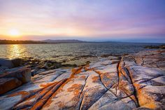 A perfect pink sunset marks the end of the day at Skeleton Point in the Bay of Fires. This beautiful spot can be found near St Helens on the East Coast of Tasmania and features some of the most beautiful and popular coastline in Tasmania.