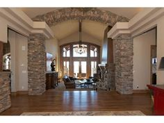 Bringing the stone details inside the home-- great idea. Click here to see this actual Colorado home!