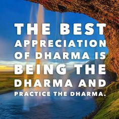 The beat appreciation of Dharma is directly being the Dharma and practicing the Dharma.