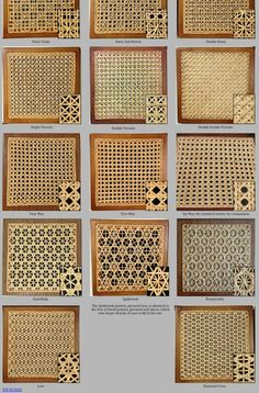 Numerous interesting weaves and materials can be used on hand woven cane seats. We present many of them on this page including daisy, victoria, snowflake and spiderweb patterns. Cane Furniture, Rattan Furniture, Furniture Projects, Furniture Design, Home Interior Design, Interior Decorating, Bamboo Weaving, Bamboo Crafts, Decoration Inspiration