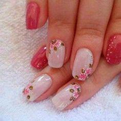 Risultati immagini per unhas decoradas delicadas Finger, Flower Nails, Pink Nails, Pretty Nails, You Nailed It, Pedicure, Hair And Nails, Acrylic Nails, Nail Art Designs