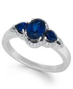 Sapphire (1-3/8 ct. t.w.) and Diamond (1/2 ct. t.w.) Ring in 14k White Gold