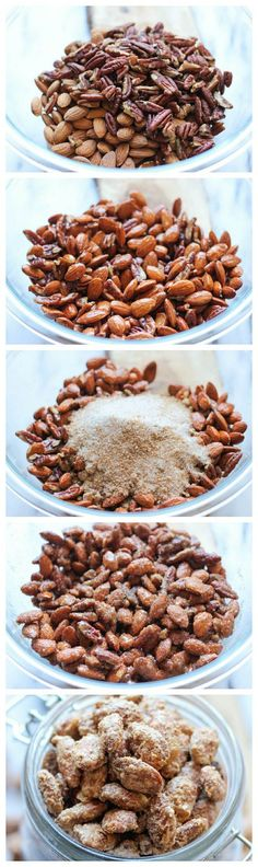 Cinnamon Sugar Candied Nuts. So easy & budget-friendly. Great gift giving idea for the holidays for friends & family!