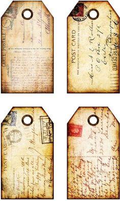 16 Small Hang Gift Tags Prim Postcard Images 477 A Vintage Maps, Vintage Labels, Vintage Ephemera, Pocket Letter, Etiquette Vintage, Card Tags, Cards, Card Sentiments, Gift Tags Printable