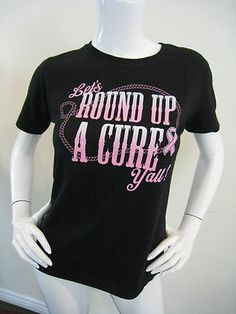 f0e4c2f14 Breast Cancer T-Shirt Tee Shirt Cowgirl Western Round Up A Cure  thinkpink
