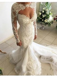 Gorgeous Sweetheart Long Sleeve Wedding Dresses 2019 Mermaid Lace Beadings Bridal Gowns Item Code: The post Gorgeous Sweetheart Long Sleeve Wedding Dresses How To Dress For A Wedding, V Neck Wedding Dress, Sweetheart Wedding Dress, Long Sleeve Wedding, Modest Wedding Dresses, Elegant Wedding Dress, Tulle Wedding, Sexy Dresses, Mermaid Sweetheart