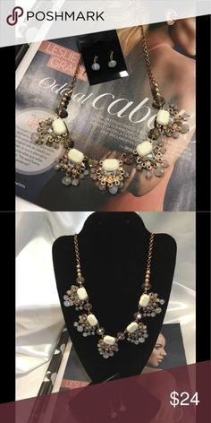 🆕Gray Tones Necklace Set This Vintage Style set features gray, cream cabochons on a gold tone chain with matching 1 inch bead earrings. (This closet does not trade) Boutique Jewelry Necklaces
