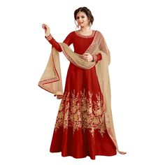 Buy New Designer Red Colour Bhagalpuri With Heavy Embroidery Anarkali Suit Online at cheap prices from Shopkio.com: India`s best online shoping site