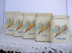 French storage tins set of 5 kitchen tins with birds and flowers by Histoires on Etsy, #histoires #etsy