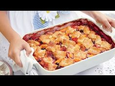 Peach Recipes Patchwork Cobbler - Fresh Peach Recipes - Southern Living - Topped with squares of sugar-crusted pastry, this cobbler shows off summer fruits in a rich, just-sweet-enough-filling. Recipe: Patchwork Cobbler Watch Us Make It: Patchwork Cobbler Plum Cobbler, Pecan Cobbler, Cobbler Topping, Fruit Cobbler, Cobbler Recipe, Southern Desserts, Southern Recipes, Desserts To Make, Great Desserts